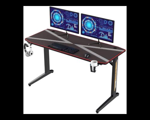 DlandHome Gaming Desk 140CM Computertisch Tisch mit vollständigem Maus-Pad